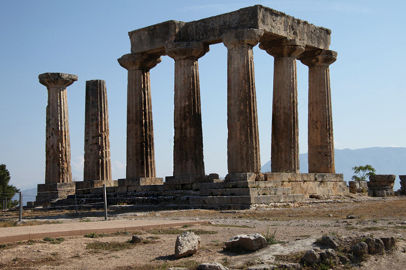 Corinth9858<br /> The Temple of Apollo from the SW.