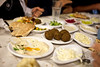 Joppa8073<br /> Pre dinner appetizers consisted of many samples of salads of cabbage, potatos, hummus and beets. Also served were pita bread and falafals - a ball of fried mashed chic peas and spices.  Yummm. The appetizers could have easily been a whole meal! Various chicken, fish and beef dinners followed.
