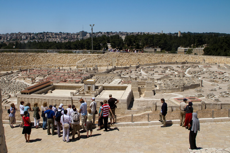 This is the model of Old Jerusalem... very impressive - including the Temple Mount in the foreground, City of David to the left and near the rear right is where the Skull is (site of the Crucifixion), and the Tomb where it is believed Jesus was buried and raised.