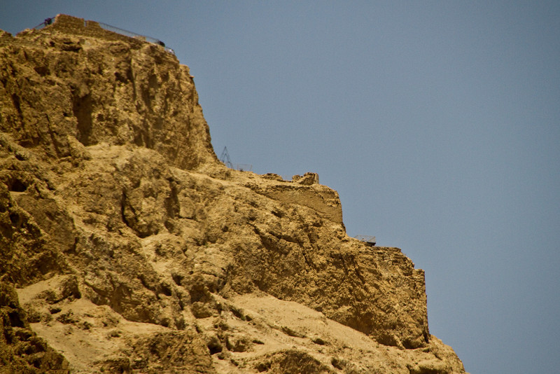 The three levels of Herod's palace on top of Masada.