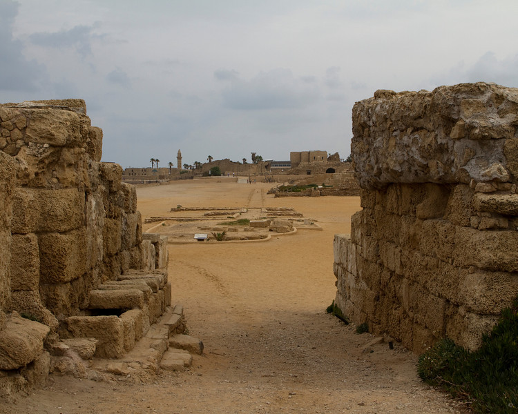 This is the entrance into Herod's Amphitheater, facing the East Gate. Can you see the chariot races here?