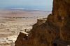 Here you can see the two lower of the three levels of Herod's palace. In the background is the Dead Sea.