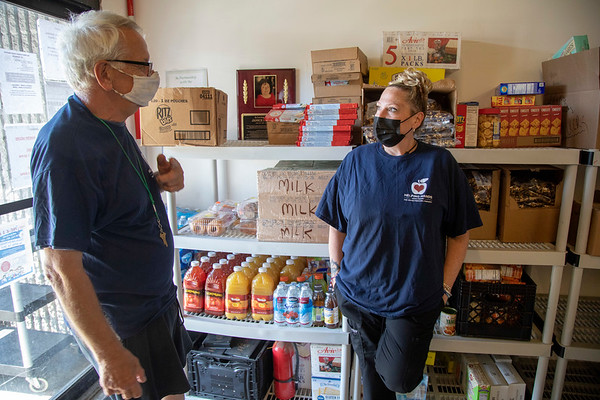 Mike Koscuiszka and Karen McEvoy volunteer at Helping Hands Food Pantry in Teaneck, NJ.  06/15/2021 Photo by Jeff Rhode/Holy Name Medical Center