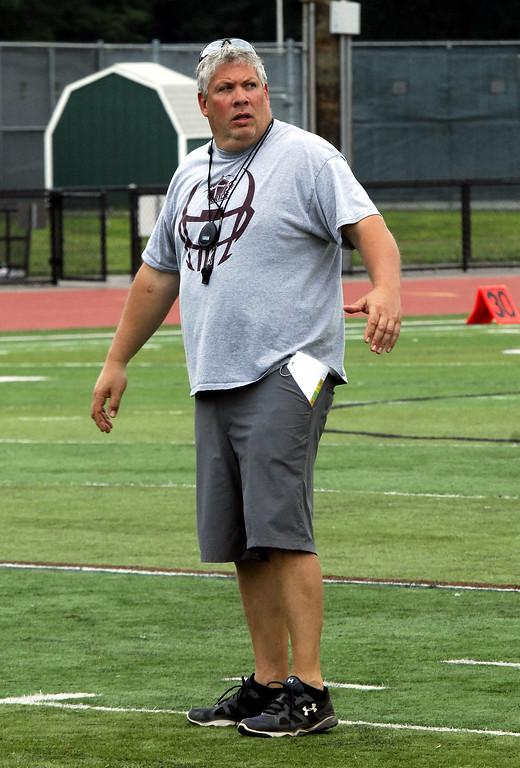 . STAN HJDY - SHUDY@DIGITALFIRSTMEDIA.COMHoly Trinity - 2017 Section II Football Camp Coach John Barber