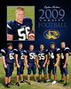 Varsity player portrait with senior picture overlay.