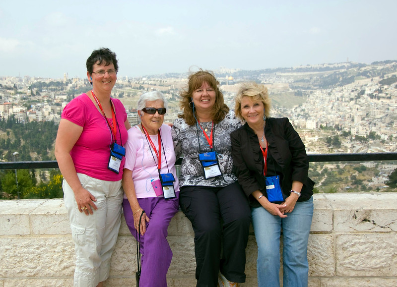 Laurie, Dottie, Amy, Kathy with Jerusalem in the background.