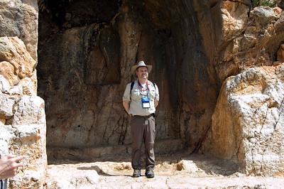 Joe posing in cave at Caesarea Philippi
