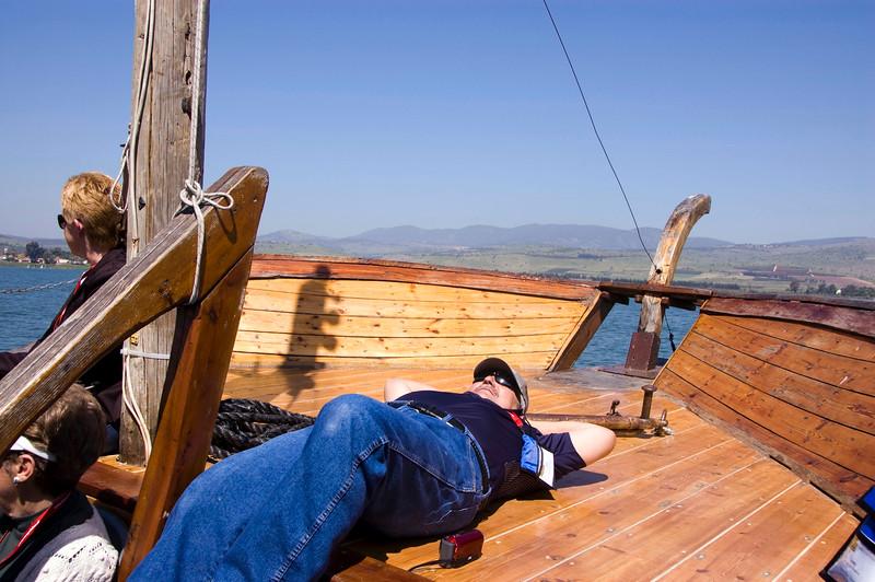 Bob enjoying the sun on the boat's deck.