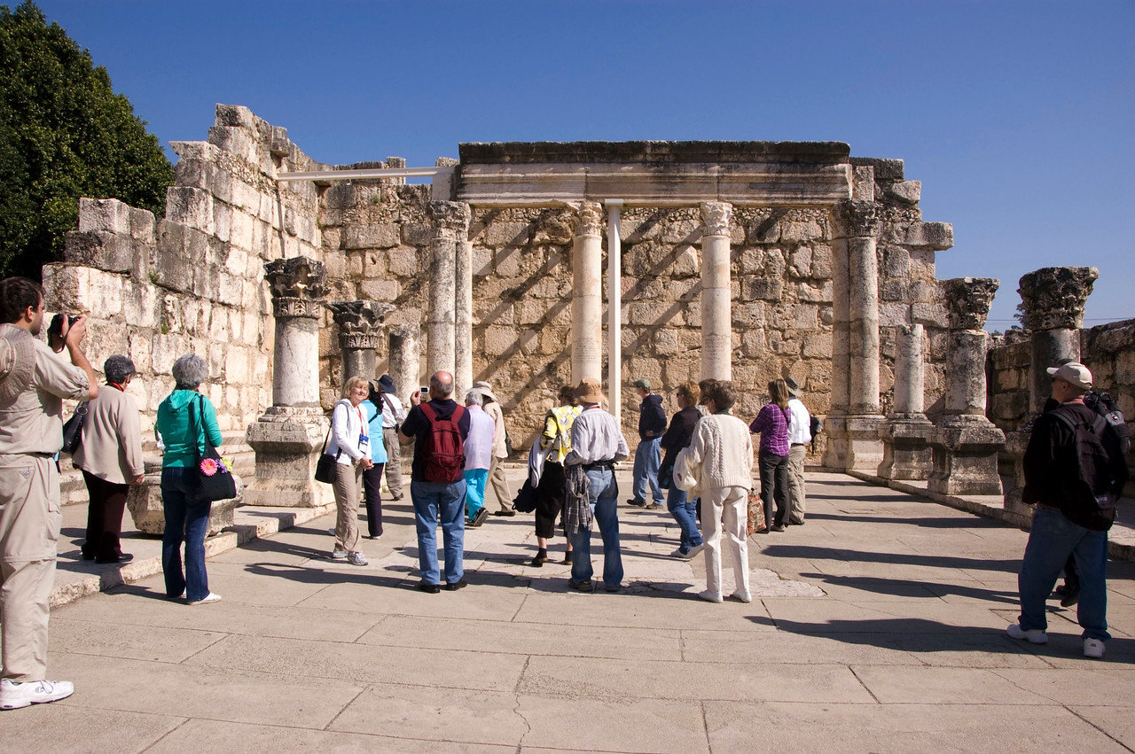 Gathering in what remains of the Capernaum Synogogue