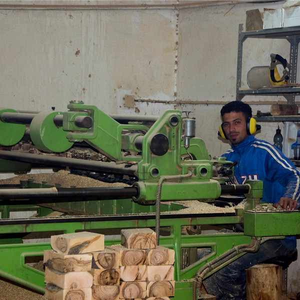 Preparing the olive wood for carving at Bethlehem New Store