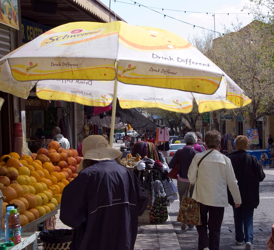 Pilgrims walking the streets of Nazareth