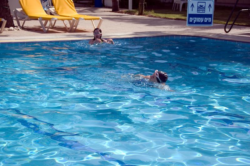 Maria and Dottie taking a swim