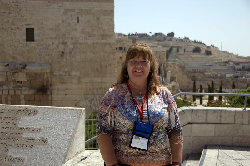 Amy outside the Jerusalem Walls