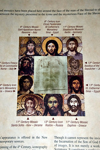 A photo with the Shroud image surrounded by icons of Jesus throughout the centuries.