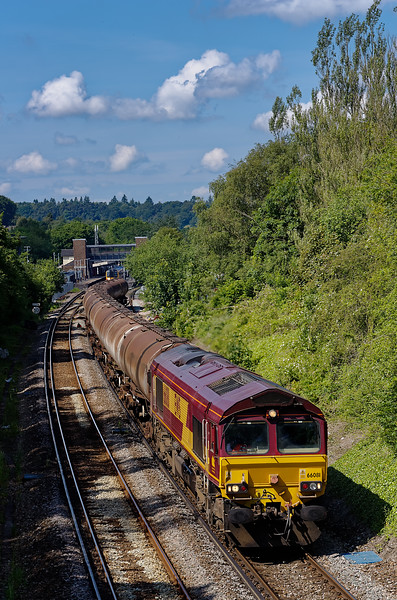 66081 passes Haslemere station with 6Y32, the 08:24 Fawley - Holybourne empty tanks, <br /> on 20th June 2012.