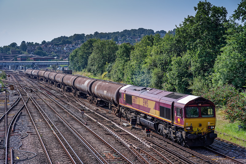 Viewed from Yorkies Bridge, 66177 passes Guildford with 6Y32, the 08:24 Fawley - Holbourne empty tanks, on 17th August 2016.