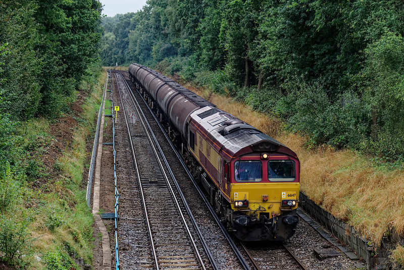 66147 between Wanborough and Ash with 6Y32, the 08:24 Fawley - Holybourne empty tanks, on 5th September 2016. This was the finlal working from Fawley to Holybourne, where the tanks were going for storage.