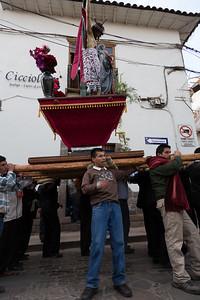 Geen dag zonder processie in Cuzco.