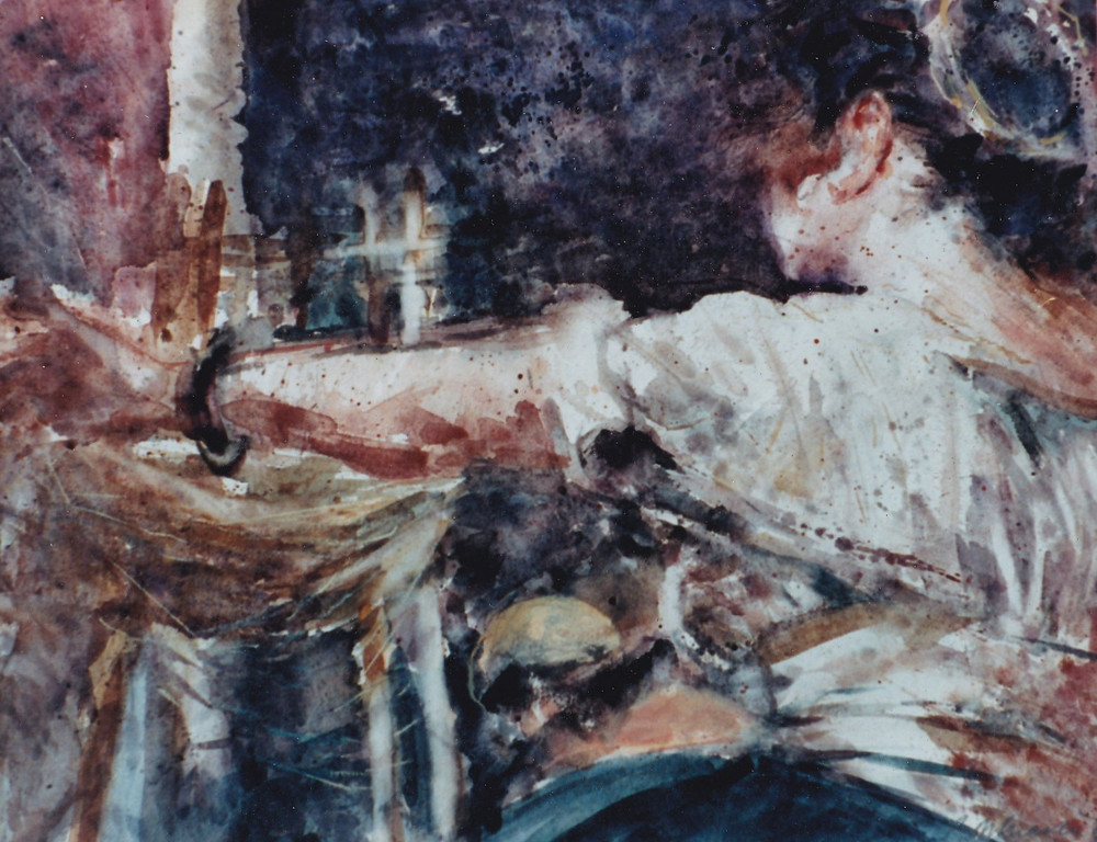 Peter McLaren, Homage to Velasquez, The Spinners, Watercolour on Paper