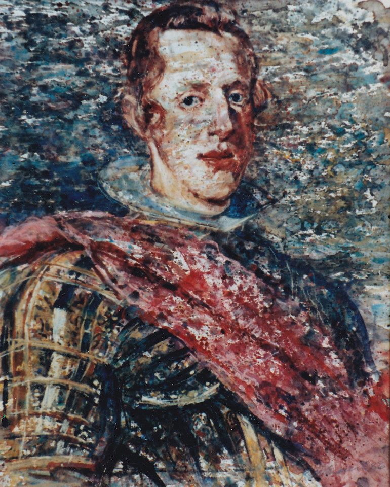 Peter McLaren, Homage to Velasquez, Philip IV, Watercolour on Paper