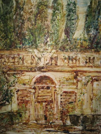 Peter McLaren, Homage to Velasquez, Villa de Medici, Rome, Watercolour on Paper 36 x 30 inches, £2500