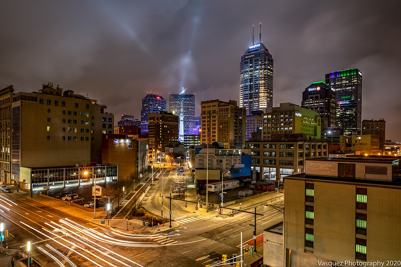 Downtown Indianapolis, Indiana on March 11, 2020. Photo by Tony Vasquez for the Nocturnal Luminosity Series.