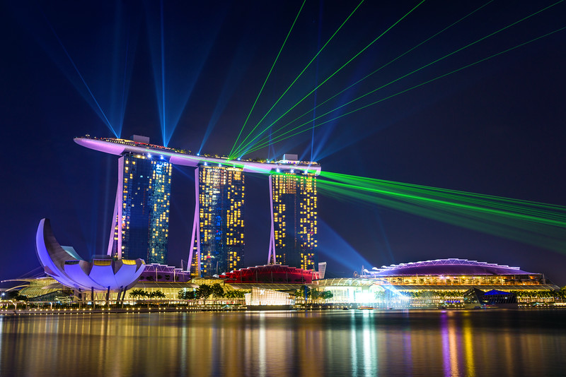 Marina Bay Sands at night during Light and Water Show 'Wonder Full' . It opened on 27 April 2010. Singapore on FEBRUARY 21, 2016