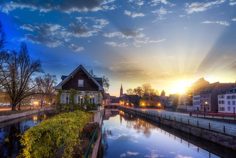 "Strasbourg, medieval bridge Ponts Couverts is located in the historic district ""Petite France""."