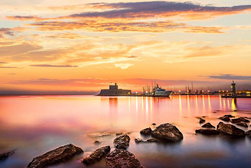 Agios Nikolaos fortress on the Mandraki harbour of Rhodes Greece