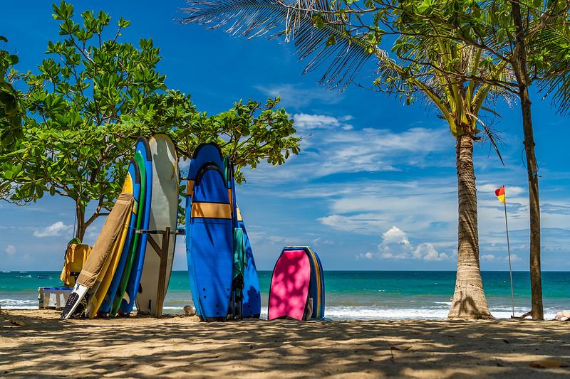 Surf boards on the beach in Kuta Bali