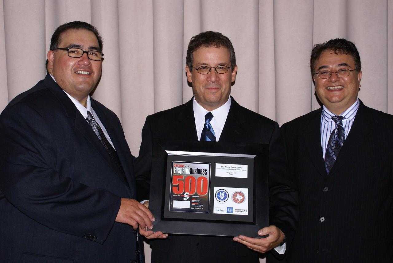 John H. Martinez-D. HCADFW President, John Suarez, Home Depot Supply and Chris Escobedo, HCADFW Chairman