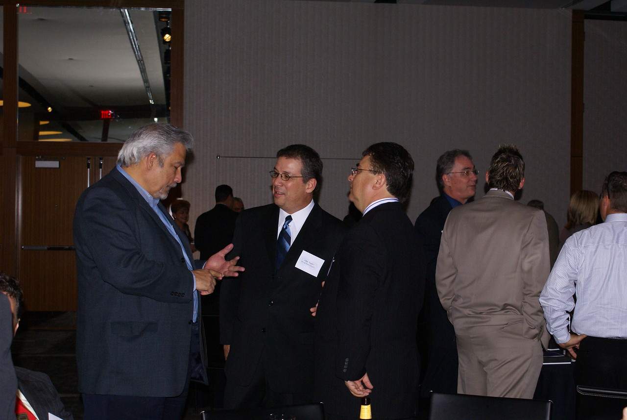 John Suarez, Home Depot Supply with Art Robles, Arlington Hispanic Chamber and Chris Escobedo, HCADFW Chairman