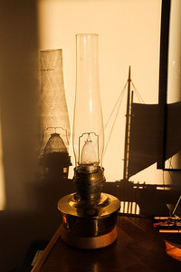 Kerosene lamp with sail shadow from our Hawaiian outrigger model.