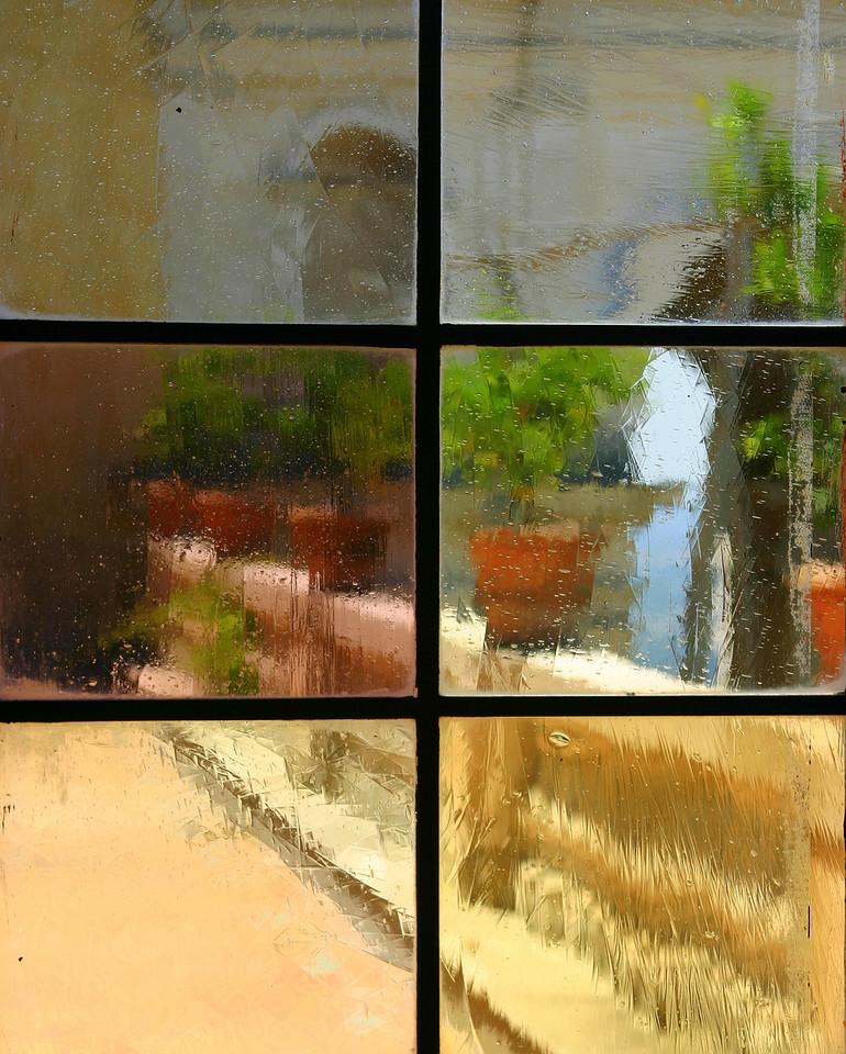 View through old window.<br /> Villa d'Este, Tivoli, Italy