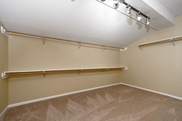 Master closet view from bedroom door
