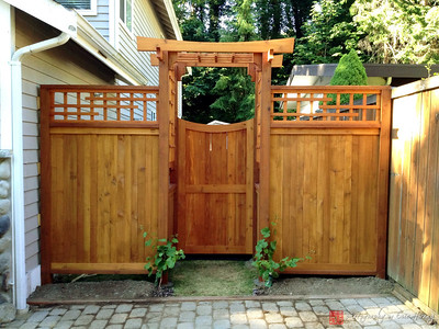 Cedar fence, arbor and gate