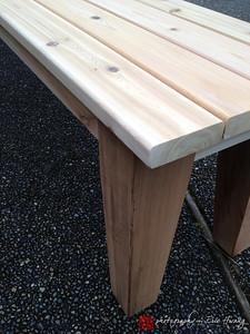 Detail of cedar bench