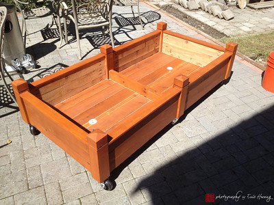 Cedar rolling garden planter before adding plants