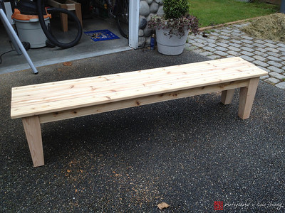 Cedar bench before stain