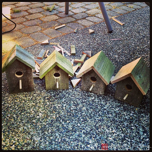 Birdhouses from recycled wood
