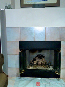 Before photo of fireplace surround