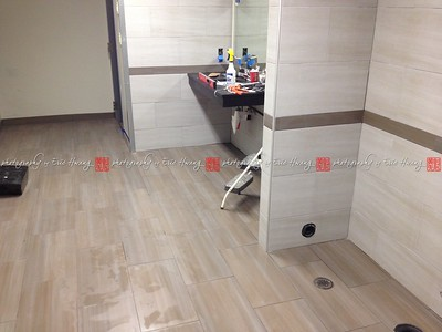 Commercial restroom floor and wall tiles