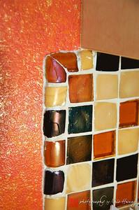 Detail of mosaic tiled backsplash