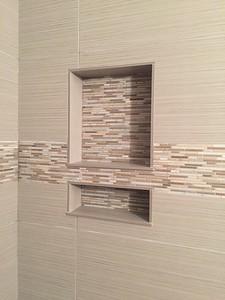 Finished shower niche detail