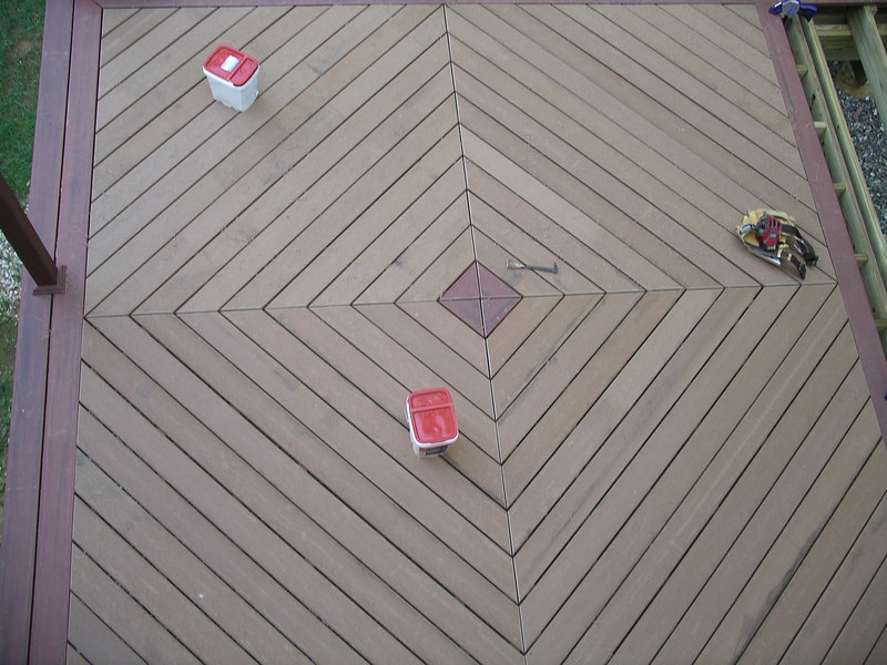 Here is an overhead of the Herringbone pattern. I did the inital section cuts, and then Roe cut the other 3 sections.