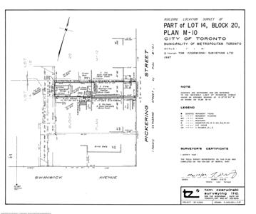 Pickering St. Lot 14 Survey, 1987.