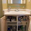 Second bathroom updated! New Moen Caldwell faucet, and two removable melamine shelves in the vanity.