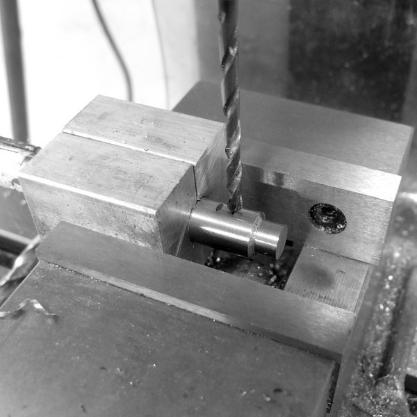 Drilling a 5mm cross hole for the fender stay.  I actually made a pilot hole first with a center bit, but didn't take a photo of that.