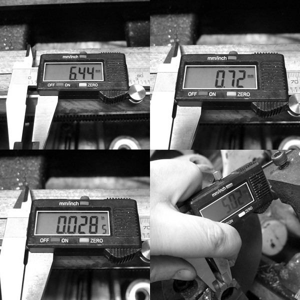 """We need this portion to be 5mm in diameter.  It is currently 6.44mm in diameter.  That is a difference of 1.44, and half of that (the radius) is .72mm.  The caliper makes a very nice metric to SAE converter (the dials on my lathe are in SAE) and tells us that we need to remove 0.028"""".  <br /> I removed 0.028"""" and we got to 5.02mm."""