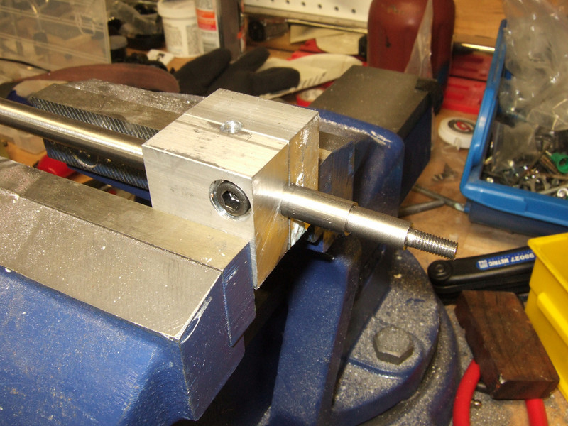 """It is threaded, time to cut it off of the stainless rod.<br /> <br /> The tubing block there is one that I made on my milling machine.  It can hold 3/8"""" or 1/4"""" tubing depending on the orientation."""